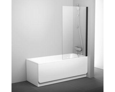 Шторка для ванны Ravak PVS1-80 черный + транспарент 79840300Z1