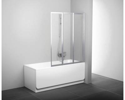 Шторка для ванны Ravak VS3 - 130 белая + рейн 795V010041