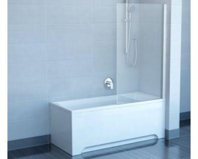 Шторка для ванны Ravak Chrome CVS1-80 R белый+стекло Transparent 7QR40100Z1