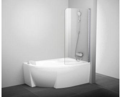 Шторка для ванны Ravak CVSK1 ROSA 140/150 R белая+транспарент 7QRM0100Y1