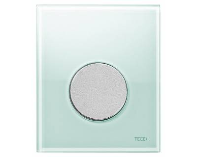 Смывная клавиша для писсуара TECEloop Urina 9242652, стекло зеленое, клавиша хром матовый