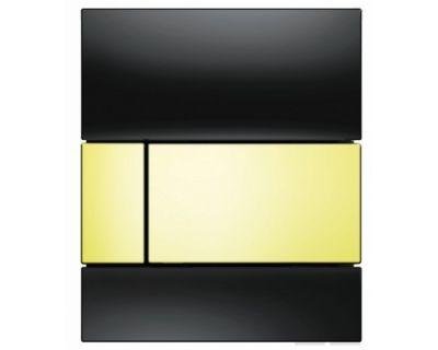 Смывная клавиша для писсуара TECEsquare Urina 9242808, стекло черное, клавиша позолоченная