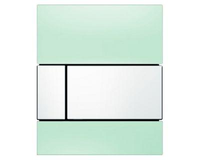Смывная клавиша для писсуара TECEsquare Urina 9242805, стекло зеленое, клавиша хром глянцевый