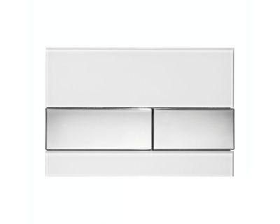 Смывная клавиша TECEsquare 9240802, стекло белое, клавиши хром глянцевый