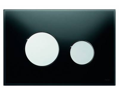 Смывная клавиша TECEloop 9240656, стекло черное, клавиши хром глянцевый