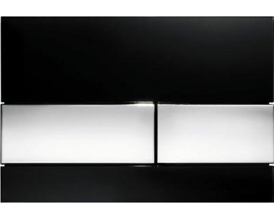 Смывная клавиша TECEsquare 9240807, стекло черное, клавиши хром глянцевый
