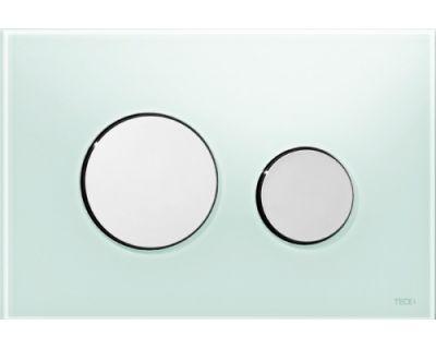 Смывная клавиша TECEloop 9240653, стекло зеленое, клавиши хром глянцевый
