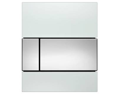 Смывная клавиша для писсуара TECEsquare Urina 9242802, стекло белое, клавиша хрм глянцевый