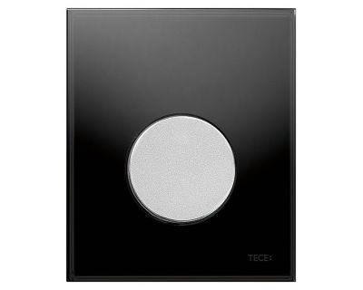 Смывная клавиша для писсуара TECEloop Urina 9242655, стекло черное, клавиша хром матовый
