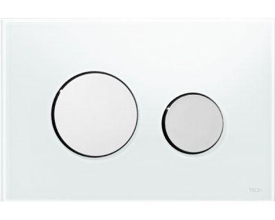 Смывная клавиша TECEloop 9240660, стекло белое, клавиши хром глянцевый