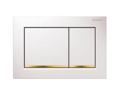 Смывная клавиша Geberit Sigma30 115.883.KK.1, двойной смыв, белый/позолота/белый