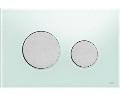 Смывная клавиша TECEloop 9240652, стекло зеленое, клавиши хром матовый