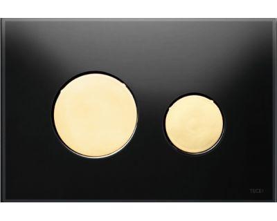 Смывная клавиша TECEloop 9240658, стекло черное, клавиши позолоченные