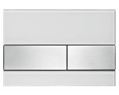 Смывная клавиша TECEsquare 9240801, стекло белое, клавиши сатин
