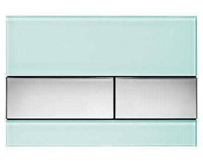 Смывная клавиша TECEsquare 9240805, стекло зеленое, клавиши хром глянцевый