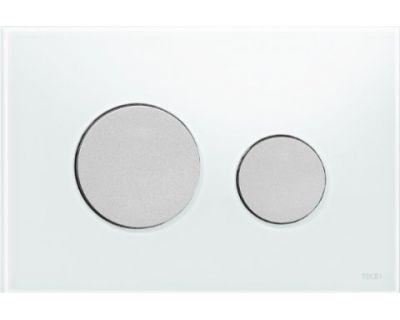 Смывная клавиша TECEloop 9240659, стекло белое, клавиши хром матовый