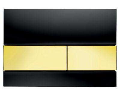 Смывная клавиша TECEsquare 9240808, стекло черное, клавиши позолоченные
