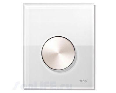Смывная клавиша для писсуара TECEloop Urina 9242661, стекло белое, клавиша сатин