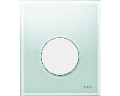 Смывная клавиша для писсуара TECEloop Urina 9242653, стекло зеленое, клавиша хром глянцевый