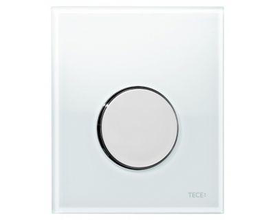 Смывная клавиша для писсуара TECEloop Urina 9242660, стекло белое, клавиша хром глянцевый