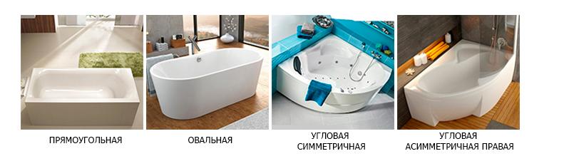 как выбрать форму ванны